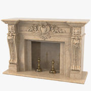 Baroque Marble Fireplace 3d model