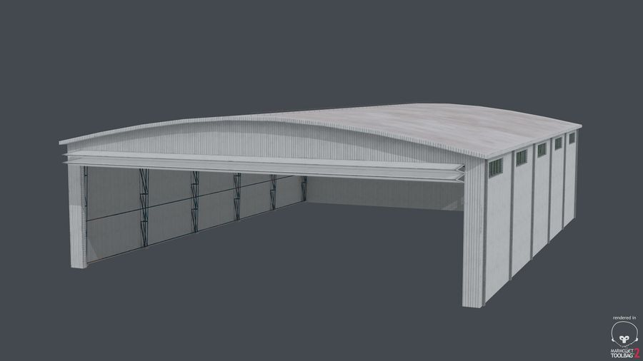 Hangar pour avions royalty-free 3d model - Preview no. 9