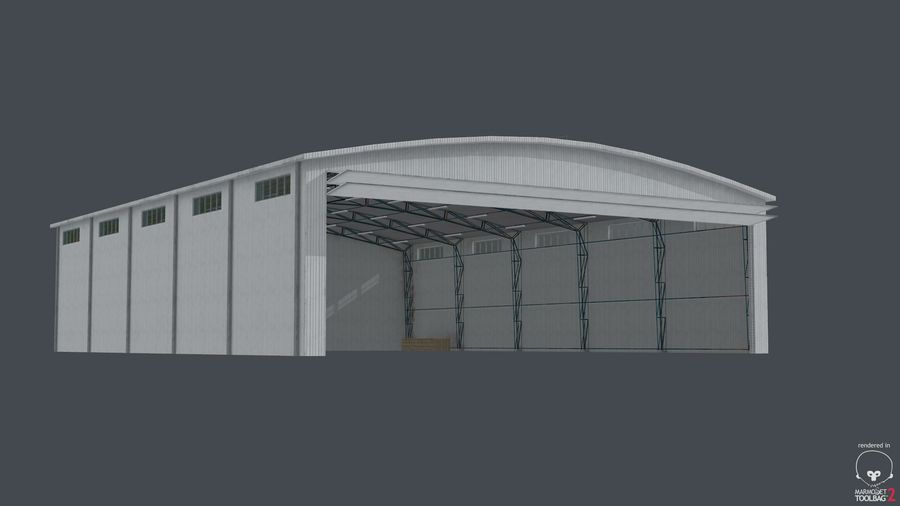 Hangar pour avions royalty-free 3d model - Preview no. 7