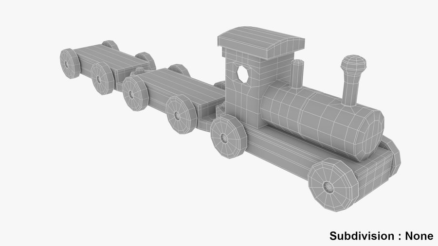 木製おもちゃの列車 royalty-free 3d model - Preview no. 9