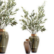 Оливковые стебли в стеклянной вазе с водой 3d model