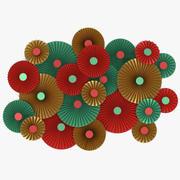 Gröna röda och guldpappersfläktdekorationer V4 3d model