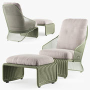 Minotti Colette户外扶手椅 3d model