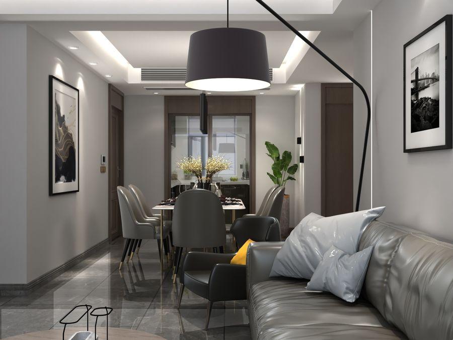 Yemek odası ve yatak odası ile oturma odası royalty-free 3d model - Preview no. 1