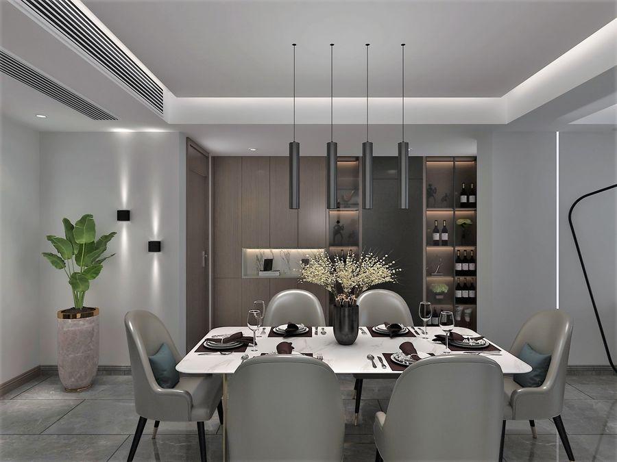 Yemek odası ve yatak odası ile oturma odası royalty-free 3d model - Preview no. 2