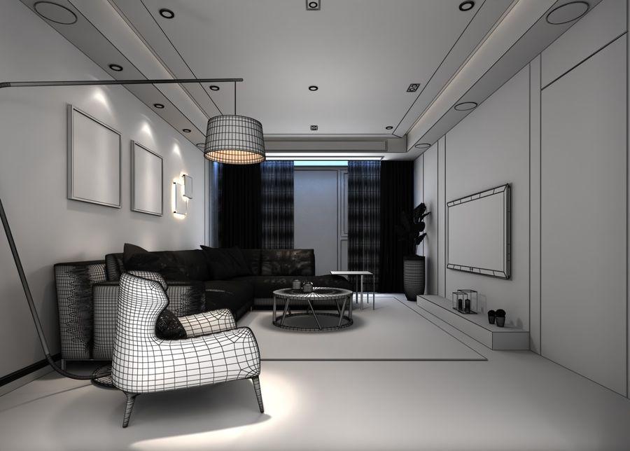 Yemek odası ve yatak odası ile oturma odası royalty-free 3d model - Preview no. 3