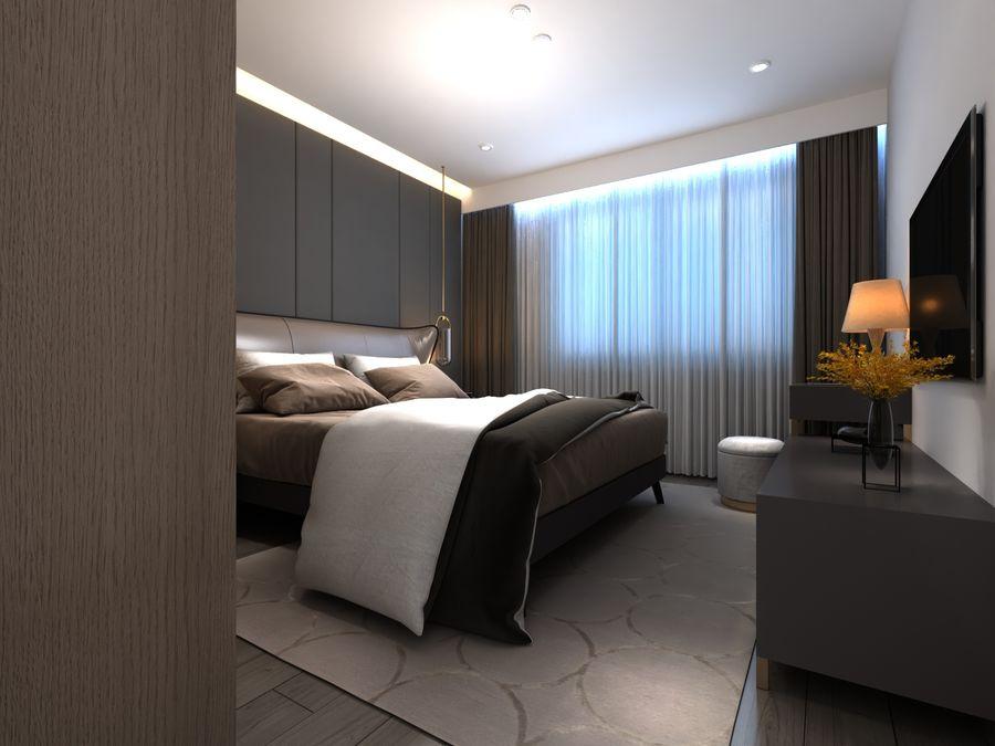 Yemek odası ve yatak odası ile oturma odası royalty-free 3d model - Preview no. 6