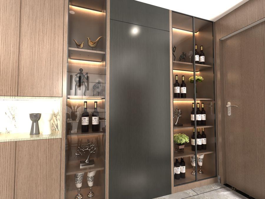 Yemek odası ve yatak odası ile oturma odası royalty-free 3d model - Preview no. 9
