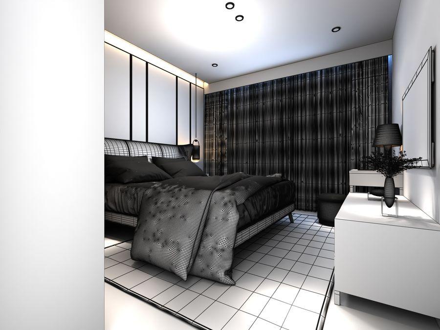 Yemek odası ve yatak odası ile oturma odası royalty-free 3d model - Preview no. 7