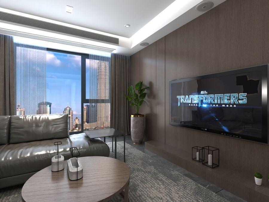 Yemek odası ve yatak odası ile oturma odası royalty-free 3d model - Preview no. 4