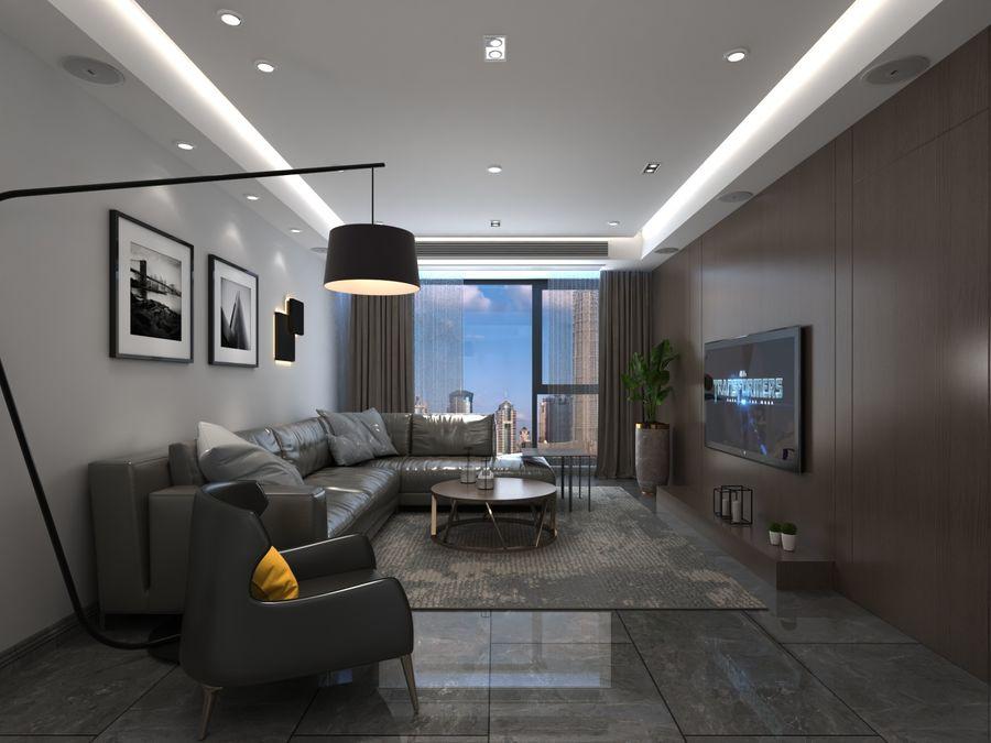 Yemek odası ve yatak odası ile oturma odası royalty-free 3d model - Preview no. 5