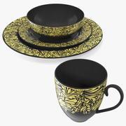 Black and Gold Dinnerware Set 3d model