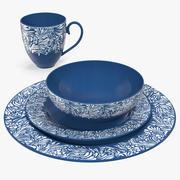 Blue Dinnerware Set 3d model