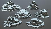 雪の岩 3d model