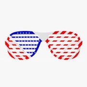 American Flag Shutter Sunglasses 3d model
