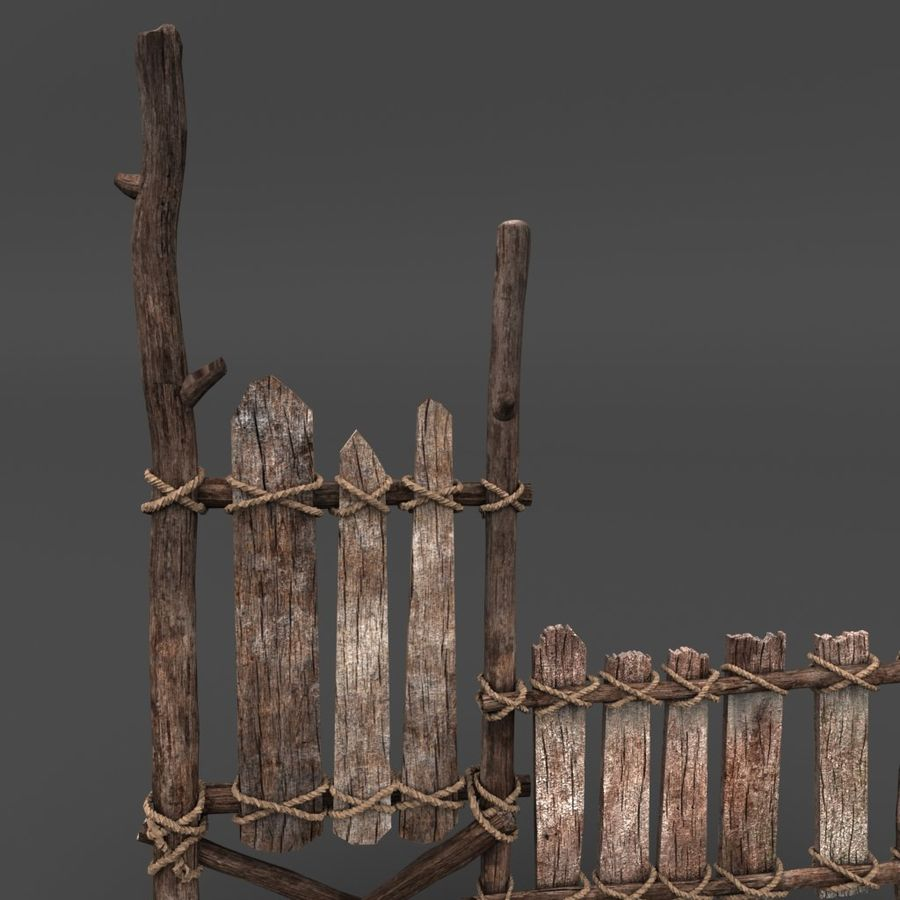 Trästaket royalty-free 3d model - Preview no. 2