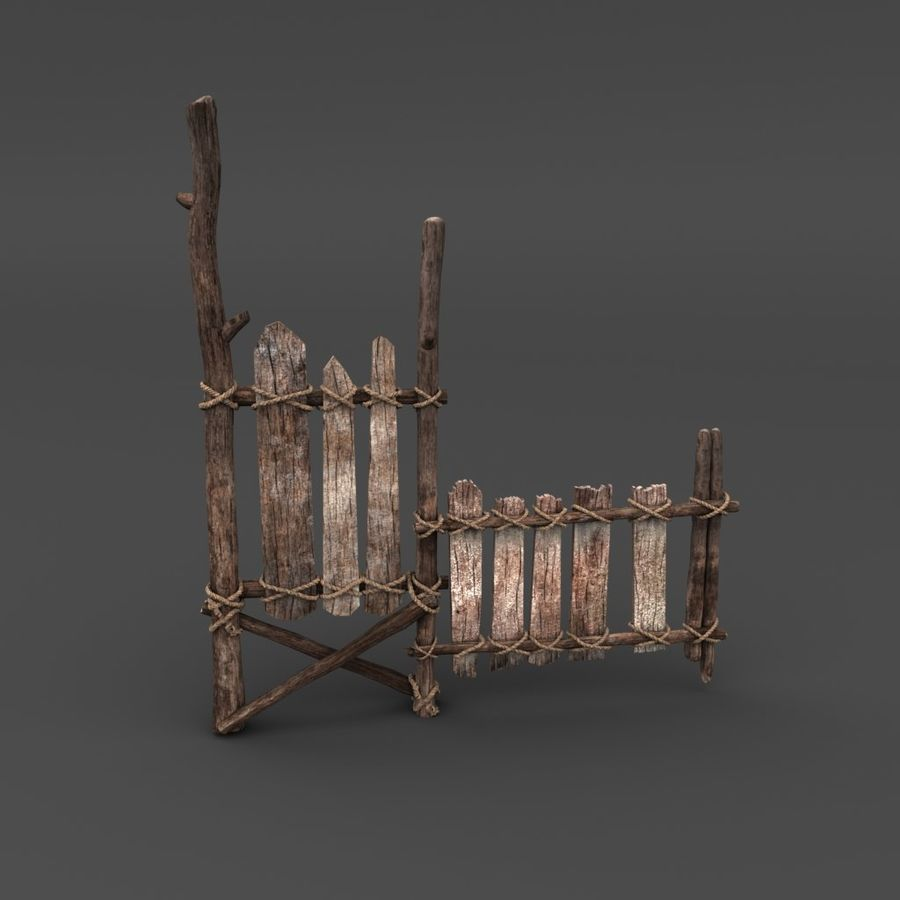 Trästaket royalty-free 3d model - Preview no. 1