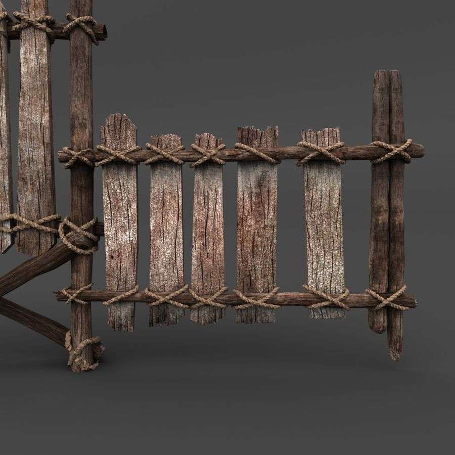 Trästaket royalty-free 3d model - Preview no. 3