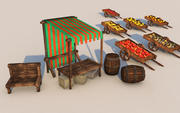 Market stall collection 3d model