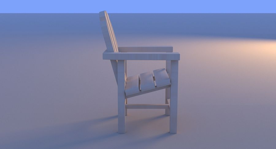 Strand houten stoel royalty-free 3d model - Preview no. 15