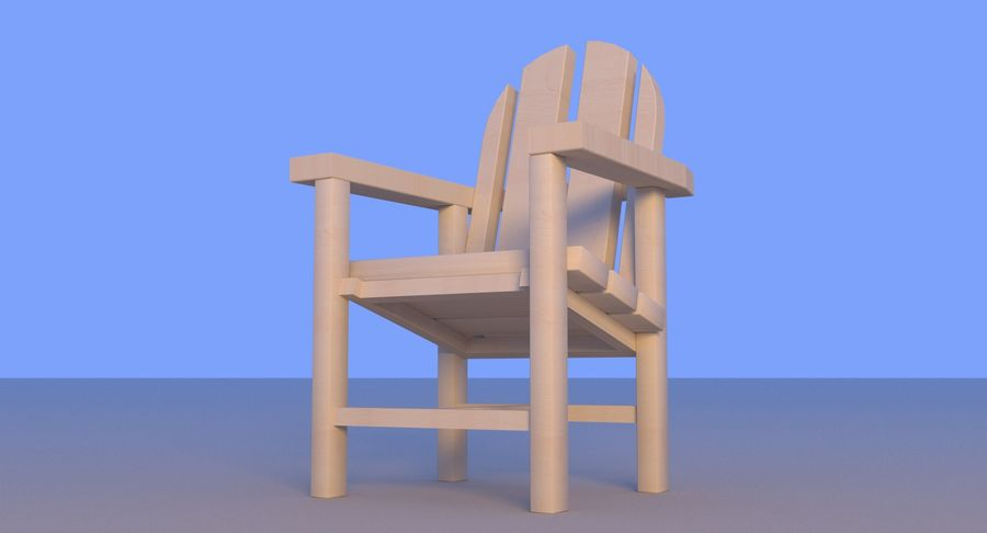 Strand houten stoel royalty-free 3d model - Preview no. 3