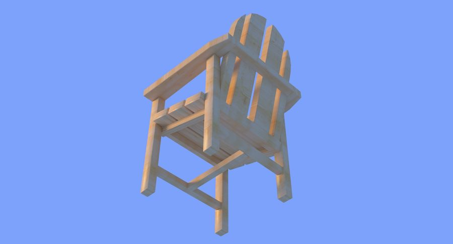 Strand houten stoel royalty-free 3d model - Preview no. 13