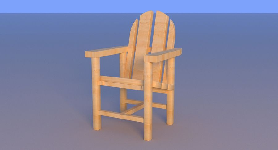 Strand houten stoel royalty-free 3d model - Preview no. 14