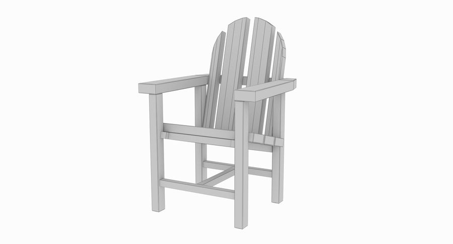 Strand houten stoel royalty-free 3d model - Preview no. 10
