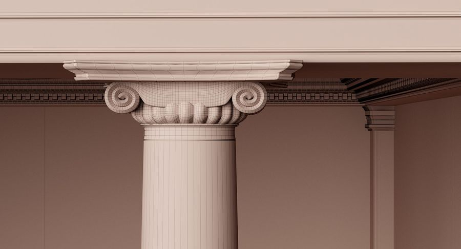 Classic Architectural Building Temple 3D Model royalty-free 3d model - Preview no. 10