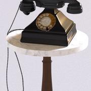 Teléfono rotatorio vintage y mesa de mármol modelo 3d
