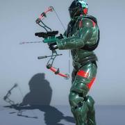 弓を持つサイファイサイボーグ兵士 3d model