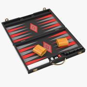 Black Backgammon Board Game Set 3d model