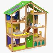 Casa de bonecas de madeira mobiliada 3d model