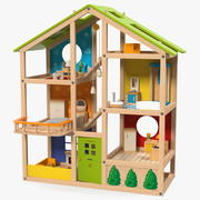 Drewniany domek dla lalek All Seasons Kids firmy Hape Umeblowany 3d model