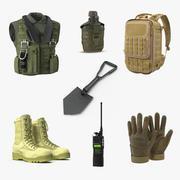 Коллекция военных вещей 2 3d model