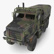 Militär medellastbil 6x6 med tält dammig 3d model