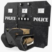 Uszkodzona tarcza balistyczna robota RBS1 SWAT BOT 3d model