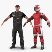 Coleção Rigged de motociclistas e motociclistas para Maya 3d model
