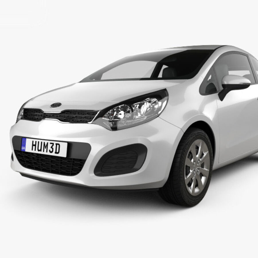 Kia Rio 3-drzwi 2012 royalty-free 3d model - Preview no. 6