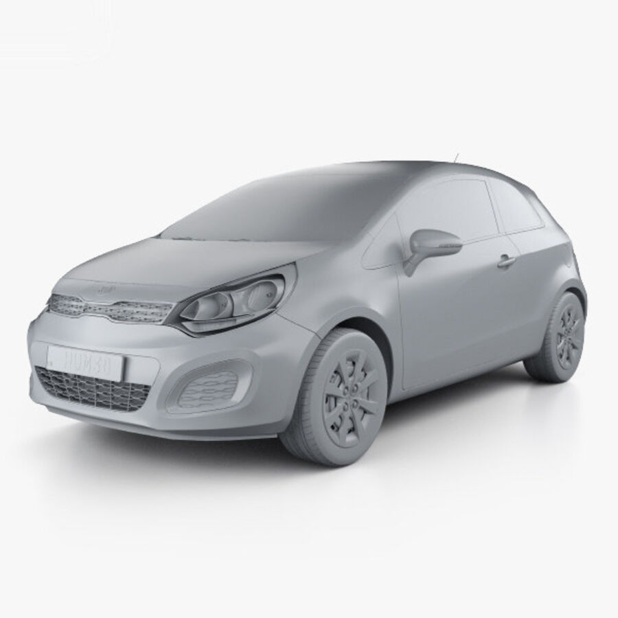 Kia Rio 3-drzwi 2012 royalty-free 3d model - Preview no. 11