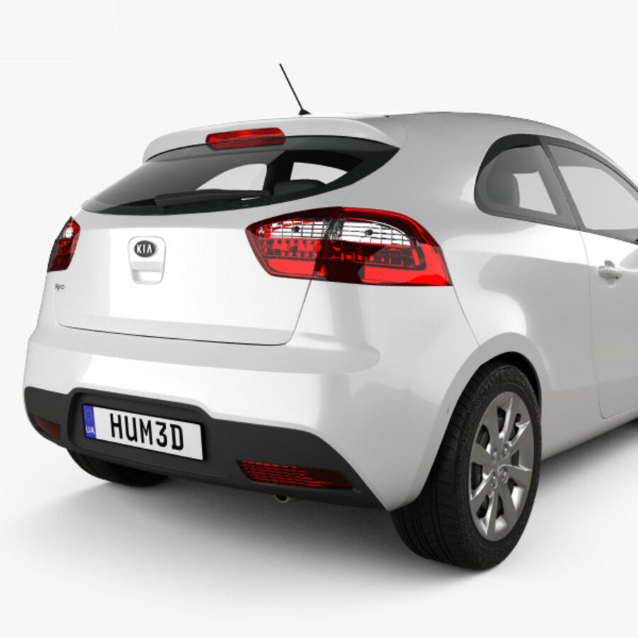Kia Rio 3-drzwi 2012 royalty-free 3d model - Preview no. 7