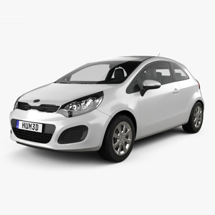 Kia Rio 3-drzwi 2012 royalty-free 3d model - Preview no. 1