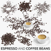 Espresso and Coffee Beans 3d model