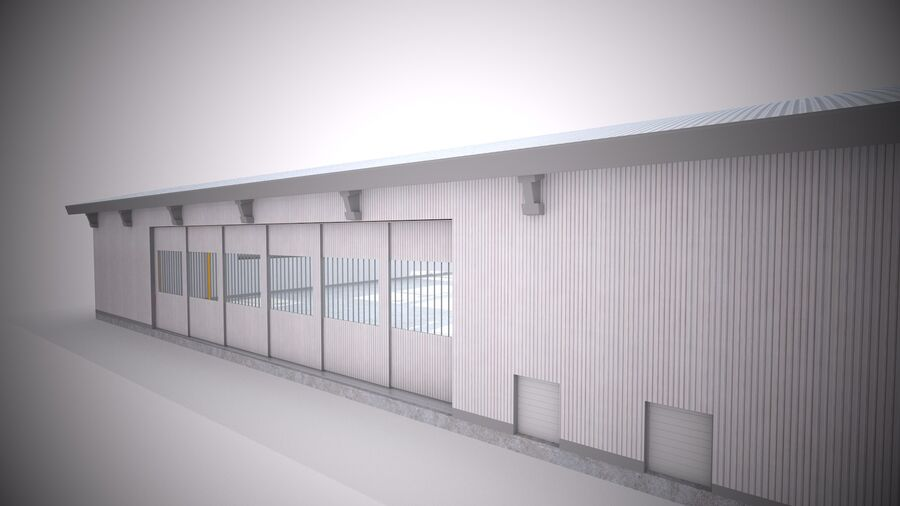 Hangar aereo royalty-free 3d model - Preview no. 10