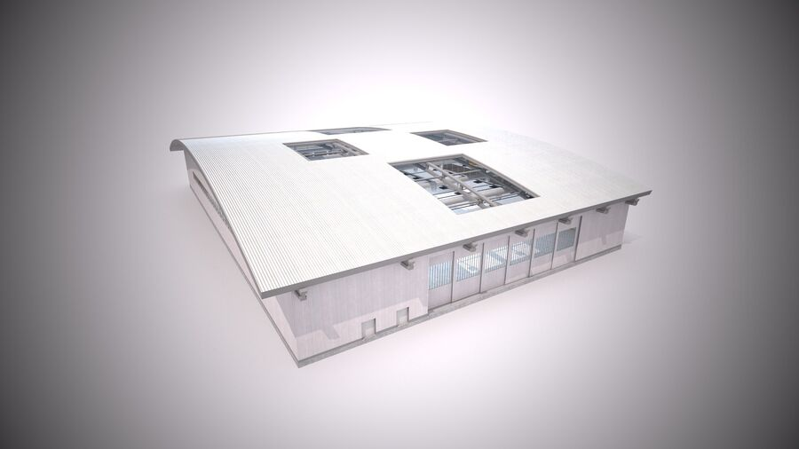 Hangar aereo royalty-free 3d model - Preview no. 8