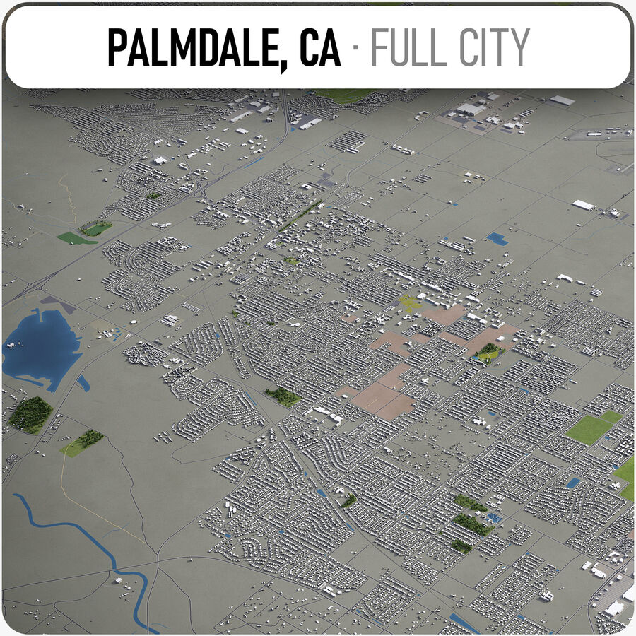 Palmdale - Stadt und Umgebung royalty-free 3d model - Preview no. 1