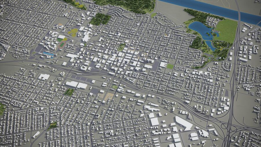 Flussufer - Stadt und Umgebung royalty-free 3d model - Preview no. 6