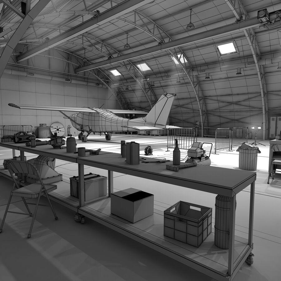 Uçak Hangarı royalty-free 3d model - Preview no. 6