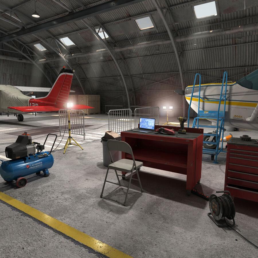 飞机机库 royalty-free 3d model - Preview no. 8