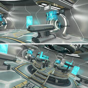 SciFi futuristische laboratorium- en controlekamer 3d model